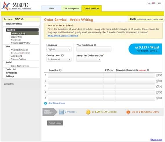 service order zefo