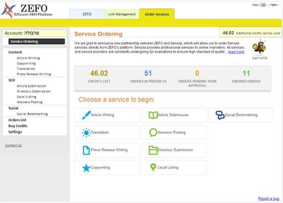 services tab zefo