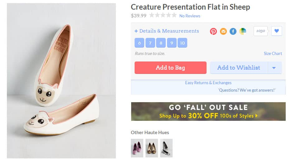 Modcloth product page