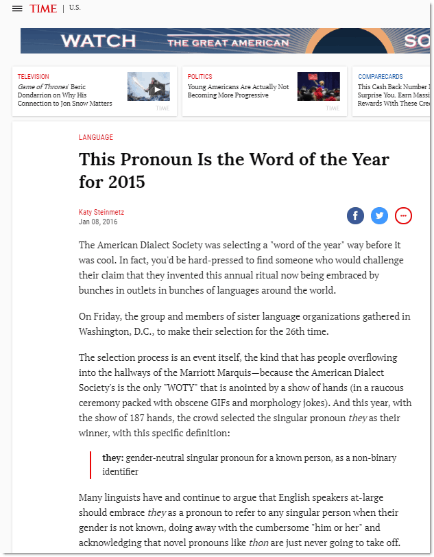 They Word of the Year